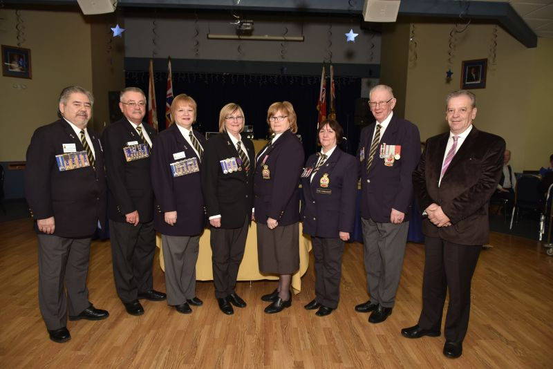 Dignitaries of the Ontario Command: Vic Sing, Brian Weaver, Shelley Sing, Donna Sampson, Debbie Olmstead, Doreene Corstorphine, Arnold Adam & Bob Sampson - Photo by Jose Atencia Ocadio